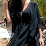 Černé rychleschnoucí průsvitné plážové šaty