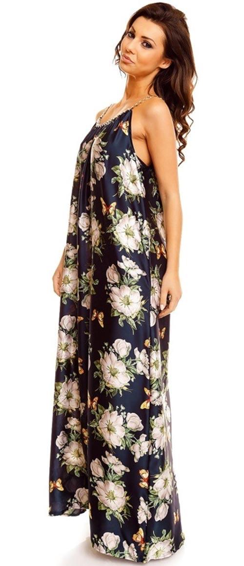 Květované šaty s délkou po zem
