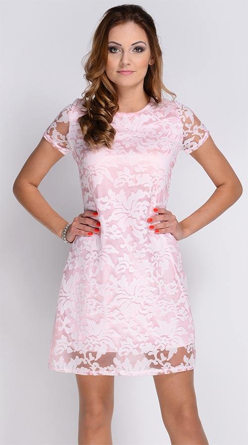 Růžové krajkové šaty Avaro