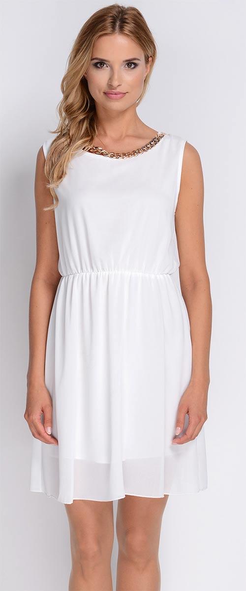 Bílé společenské šaty s pružným pasem