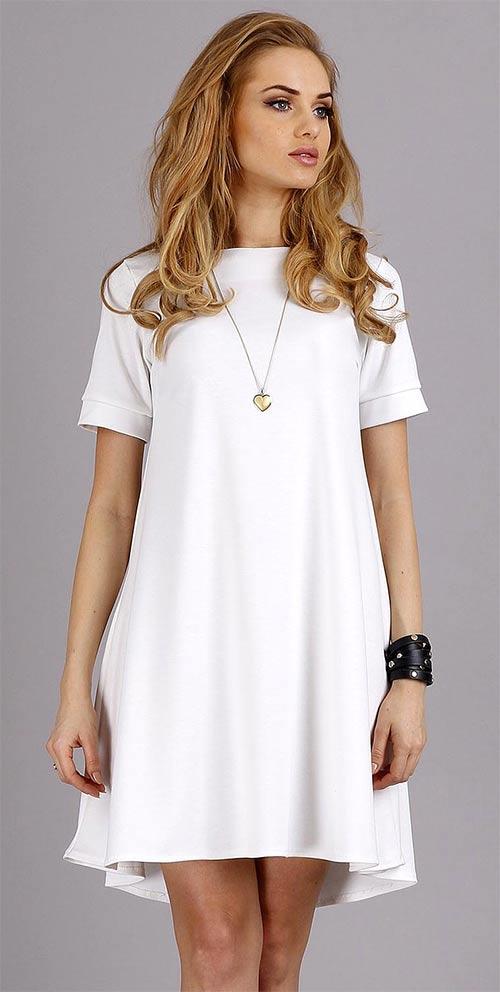Bílé volné dámské šaty