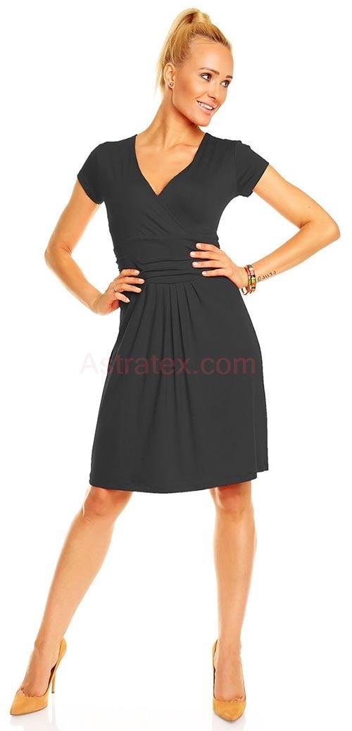 Černé šaty s krátkým rukávem