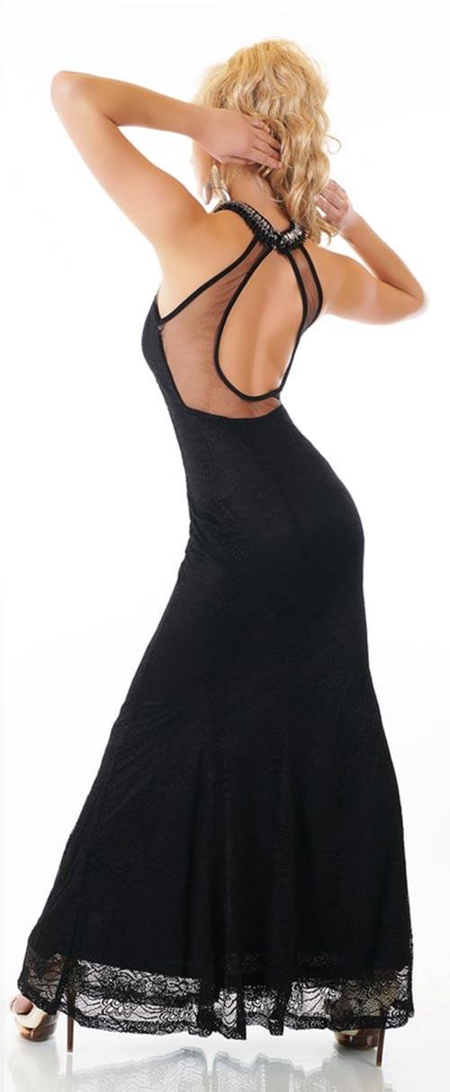 d8e77e72e776 Černé společenské šaty s odhalenými zády ...