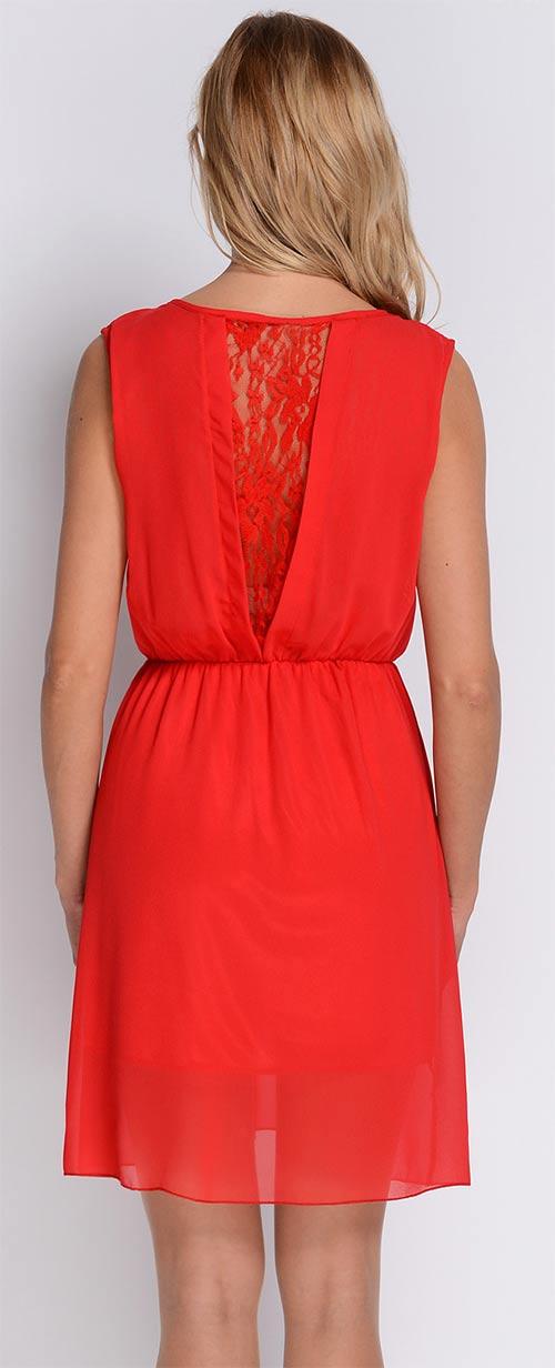 Červené šaty bez rukávu s krajkou