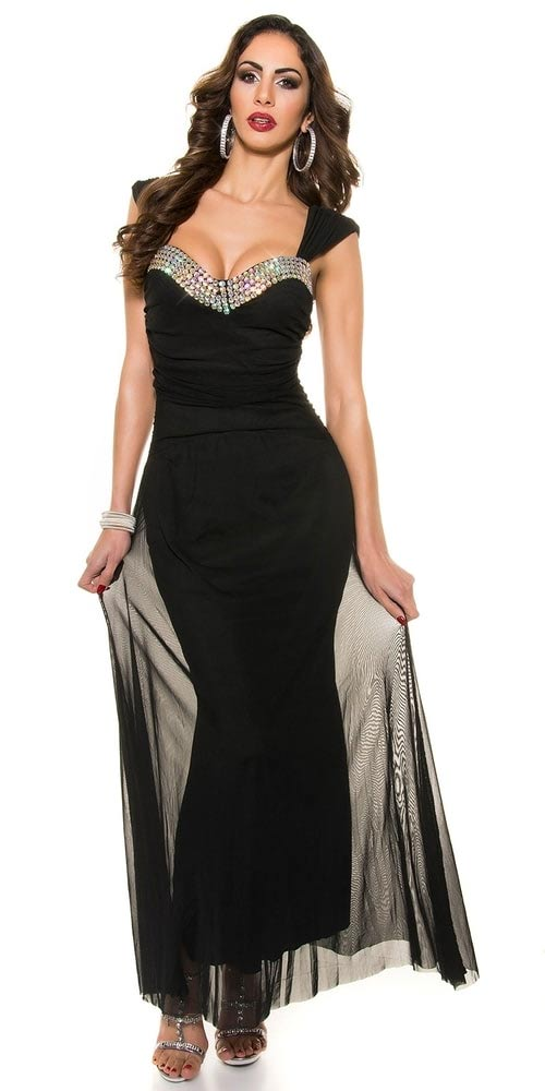 Dlouhé plesové šaty s širokými ramínky a volánem