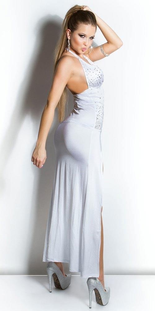 Dlouhé šaty s lesklými kamínky