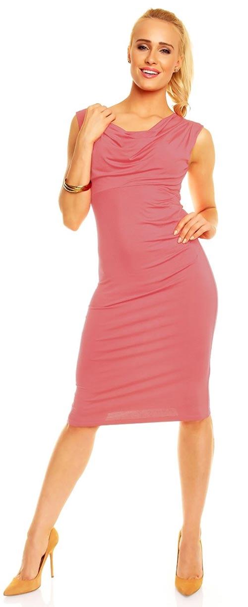Růžové jemně nařasené společenské šaty