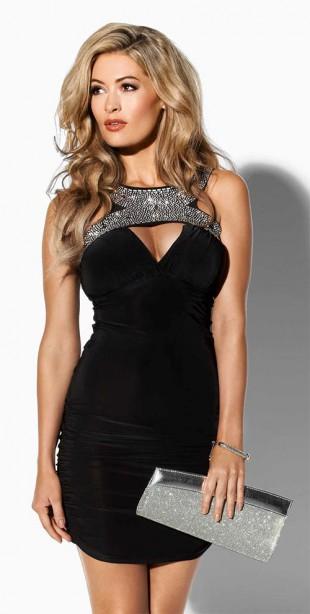 Společenské černé mini šaty i pro plnoštíhlé