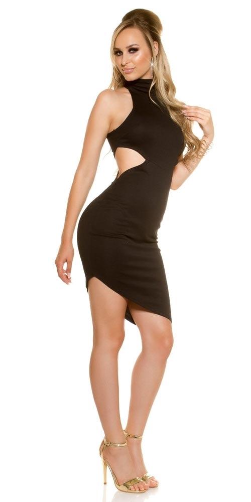 Černj šaty se stojáčkem u krku