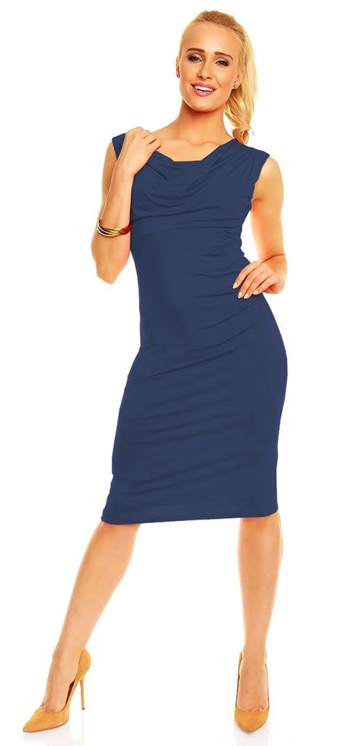 Tmavě modré dámské šaty bez rukávu
