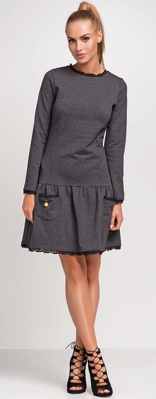 Tmavě šedé dámské šaty s krajkovým lemem