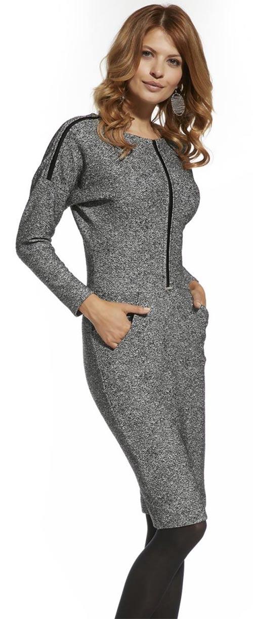 0683e0c01236 Zimní šedé úpletové dámské šaty Ennywear