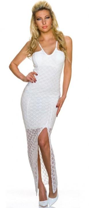 Bílé krajkové společenské dlouhé šaty na tenká ramínka 73d882b48b