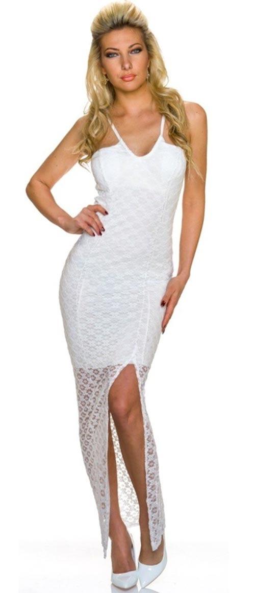 Bílé krajkové společenské dlouhé šaty na tenká ramínka