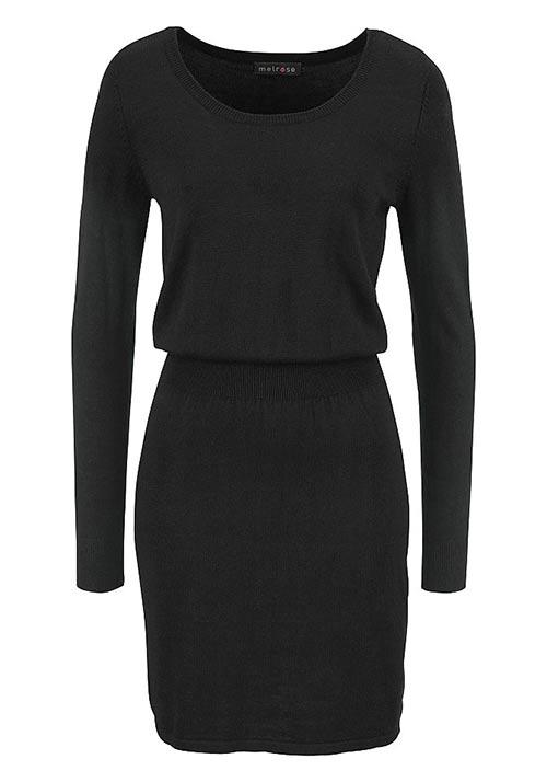 Černé dámské šaty s dlouhými rukávy
