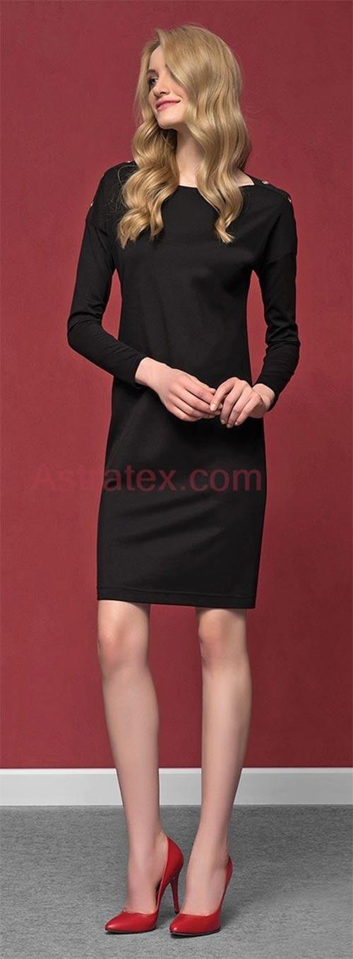 Černé luxusní pouzdrové šaty Dianna z lehké viskózy