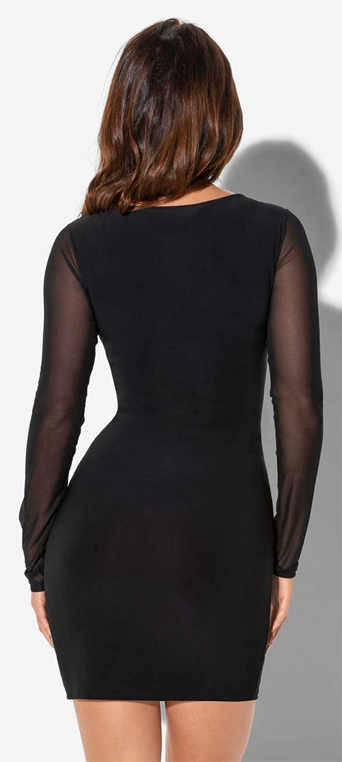 Černé minišaty s průsvitnými rukávy