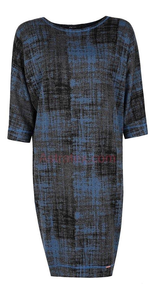 Černo-modré žíhané šaty