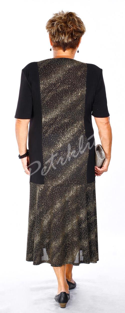Černo-zlaté dlouhé plesové šaty pro starší