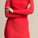 Červené asymetrické sexy šaty nad prsa