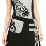 Elegantní dámské šaty Desigual v černo-bílém provedení s úpletovými motivy