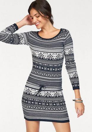 Modrobílé pletené šaty s norským vzorem