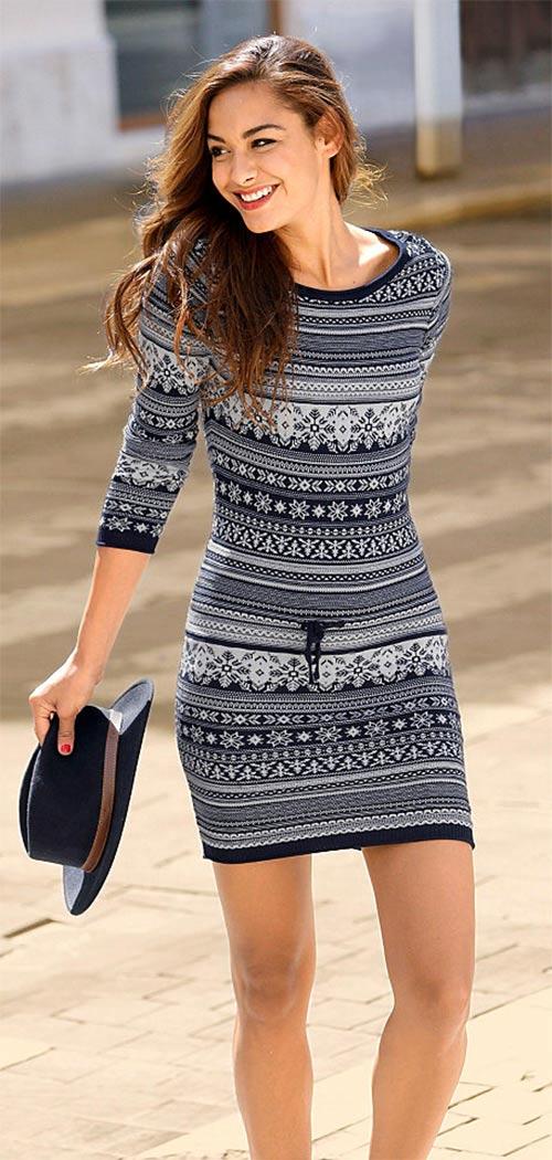 Modrobílé pletené šaty s norským vzorem 14601da775