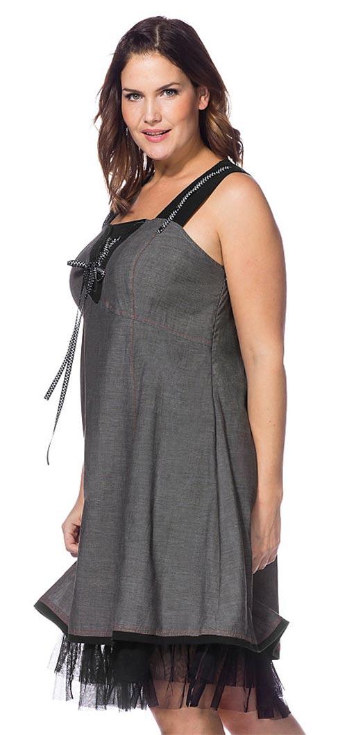 Šedočerné šaty na širší ramínka