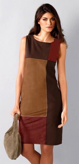 Semišové dámské šaty s patchwork efektem