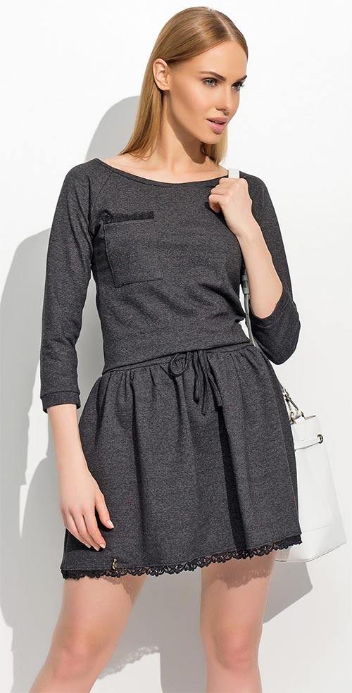 Tmavě šedé šaty s ozdobnou kapsou