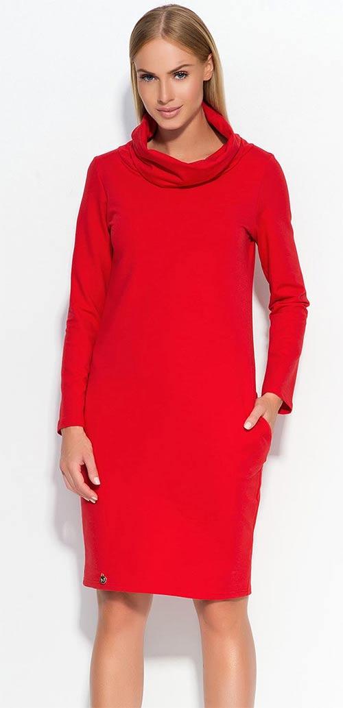 08bd1303a97 Zimní bavlněné dámské šaty po kolena s člunovým roláčkem