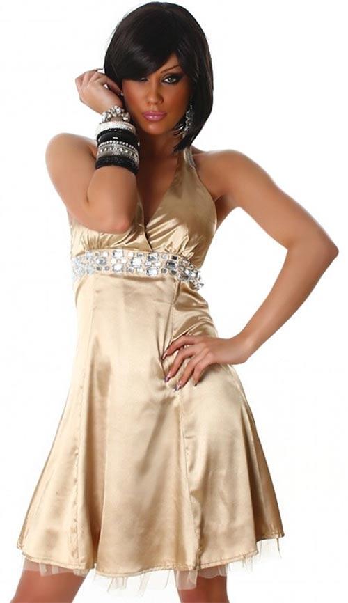 Zlaté společenské/plesové krátké šaty zavazováním za krk