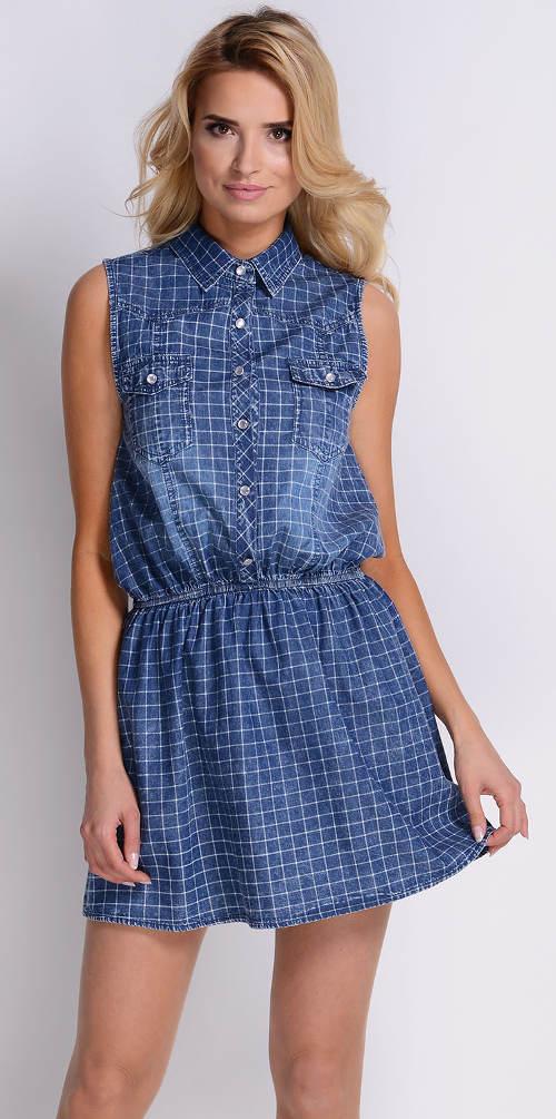 Modré kostkované šaty s límečkem