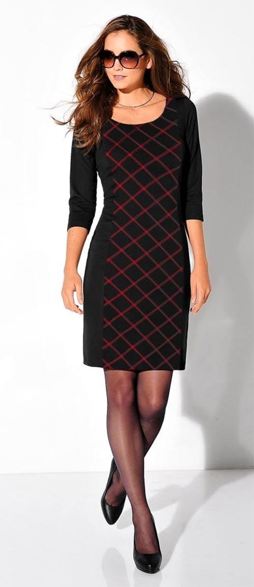 Nadčasové kárované šaty z úpletu Milano