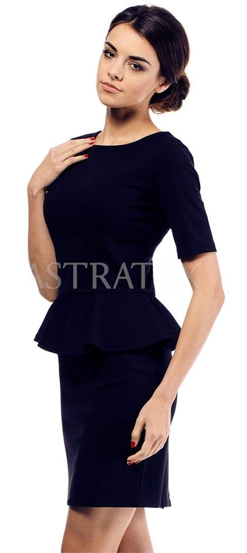 Tmavě modré elegantní dámské šaty