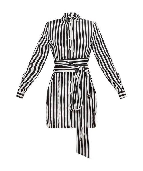 Černobílé pruhované košilové šaty