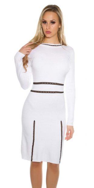 Dámské jarní úpletové šaty s dlouhými rukávy