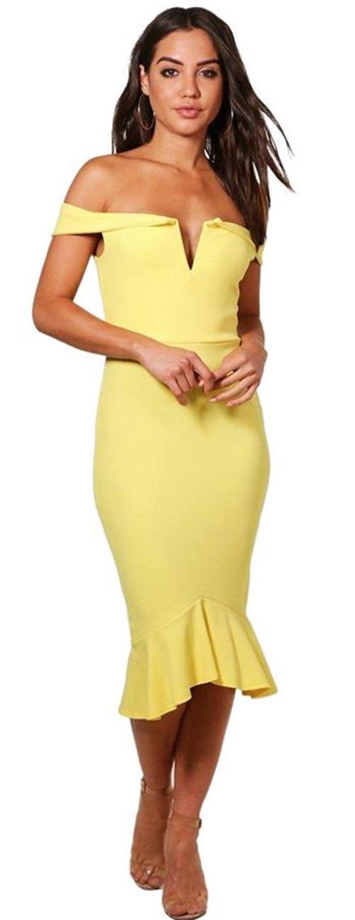 Midi bardot šaty Kandy