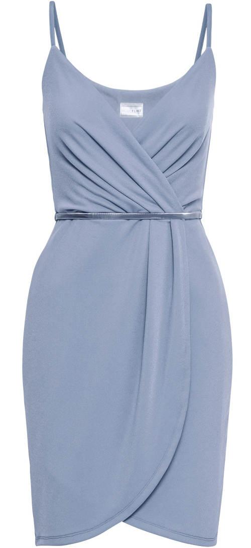 Světle modré šaty zavinovacího střihu
