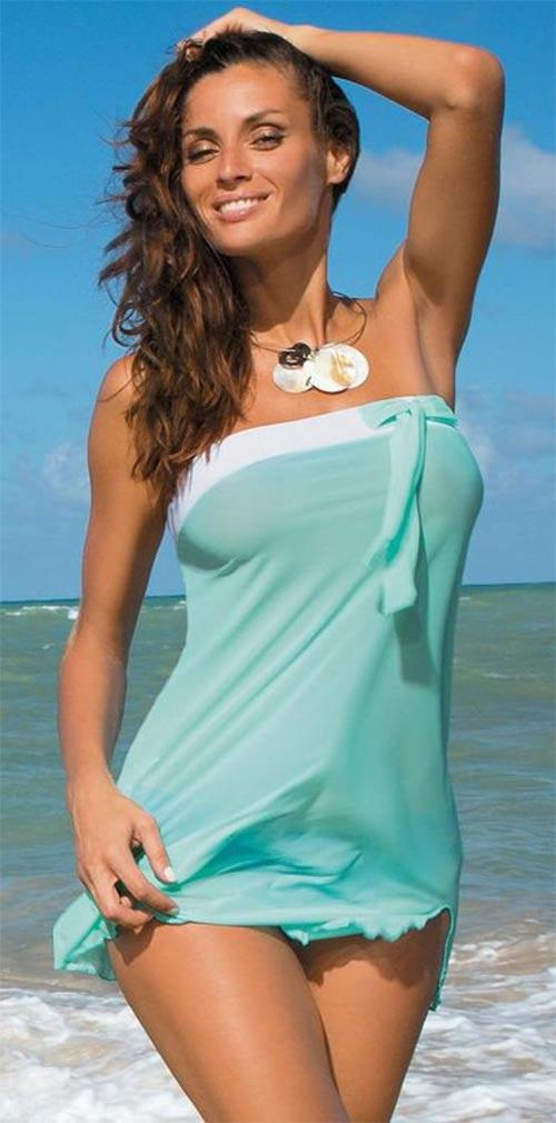 Tyrkysová plážová tunika - šaty k moři
