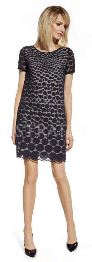 28bcf69e1264 Dámské krajkové šaty s puntíkatým vzorem