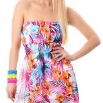 Květované letní krátké šaty s páskem