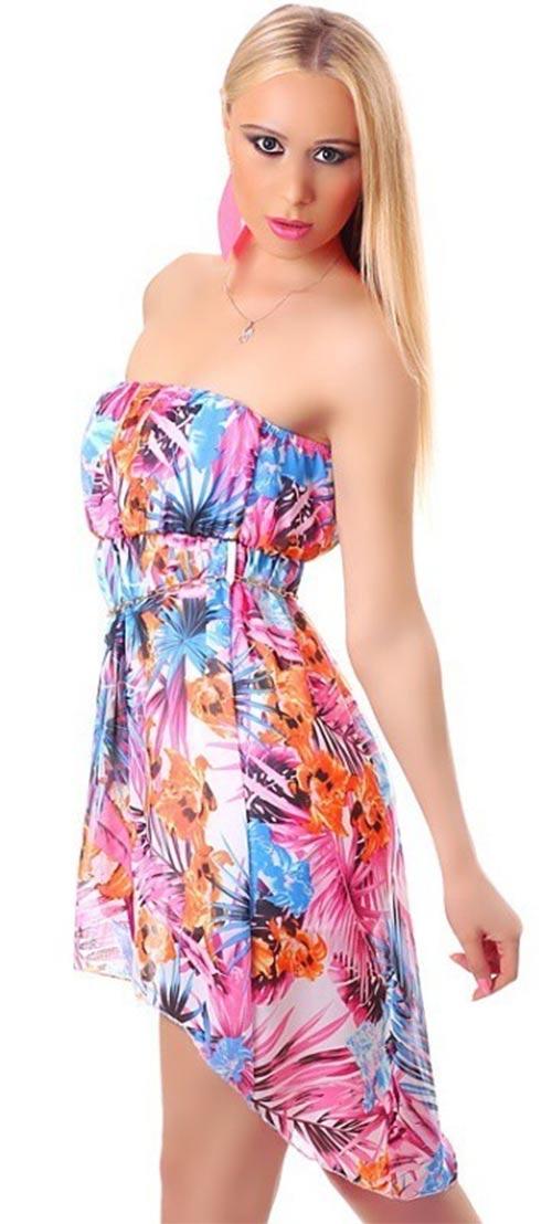 Šaty bez ramínek asymetrického střihu
