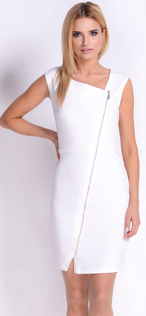 Bílé dámské šaty bez rukávů