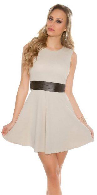 Dámské koktejlové šaty bez rukávů s širší sukní