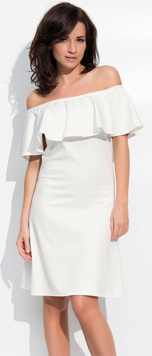 Bílé romantické šaty s volánkem přes prsa