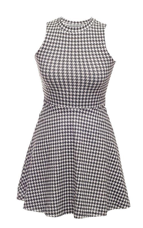 Černobílé letní šaty bez rukávů