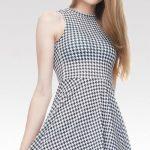 Černobílé šaty Pepitka - vzor kohoutí stopa