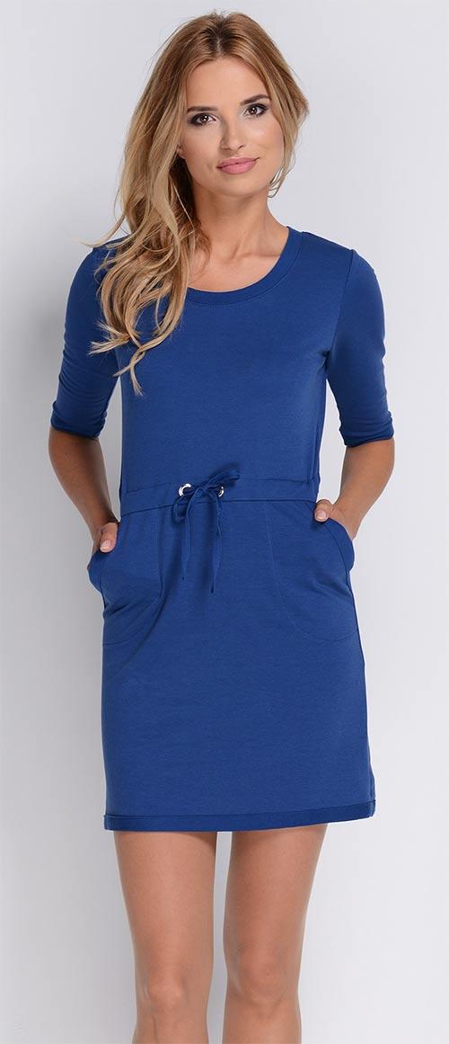 Dámské modré šaty s kapsami