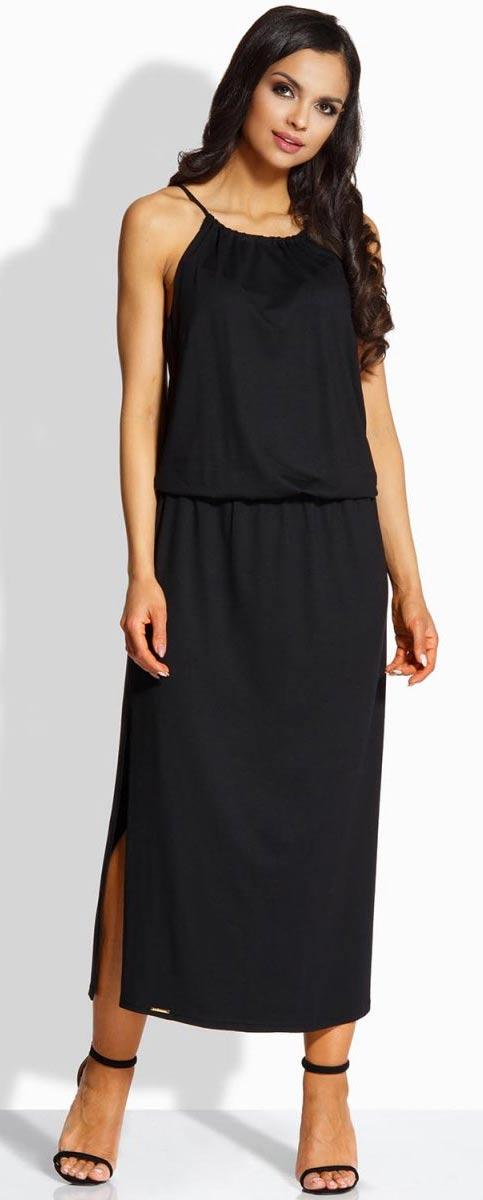 Dlouhé černé šaty se šňůrkou v pase